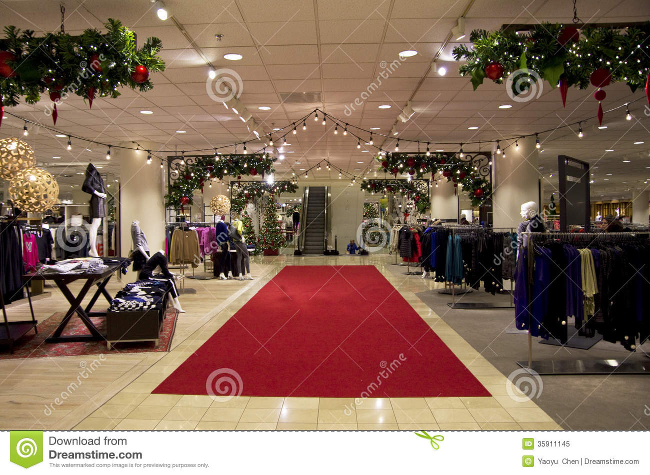 Editorial Image: Department store mall shopping christmas tree ligh