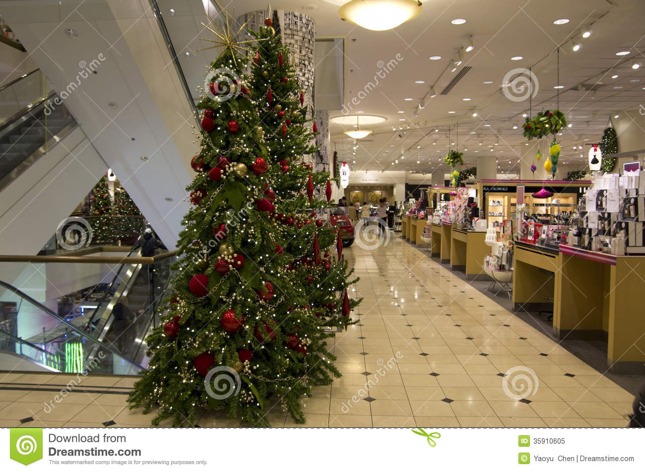 department store mall shopping christmas tree lights lighting