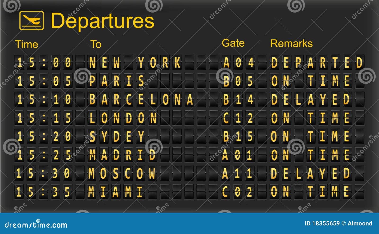 Departure Board Destination Airports Stock Illustration
