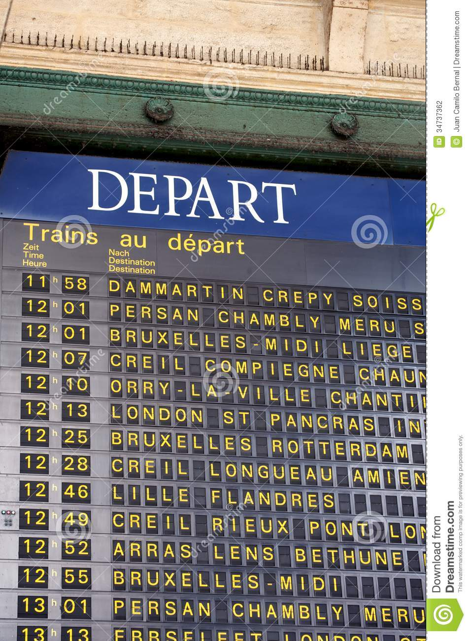 departure board at a paris' train station stock photo - image of
