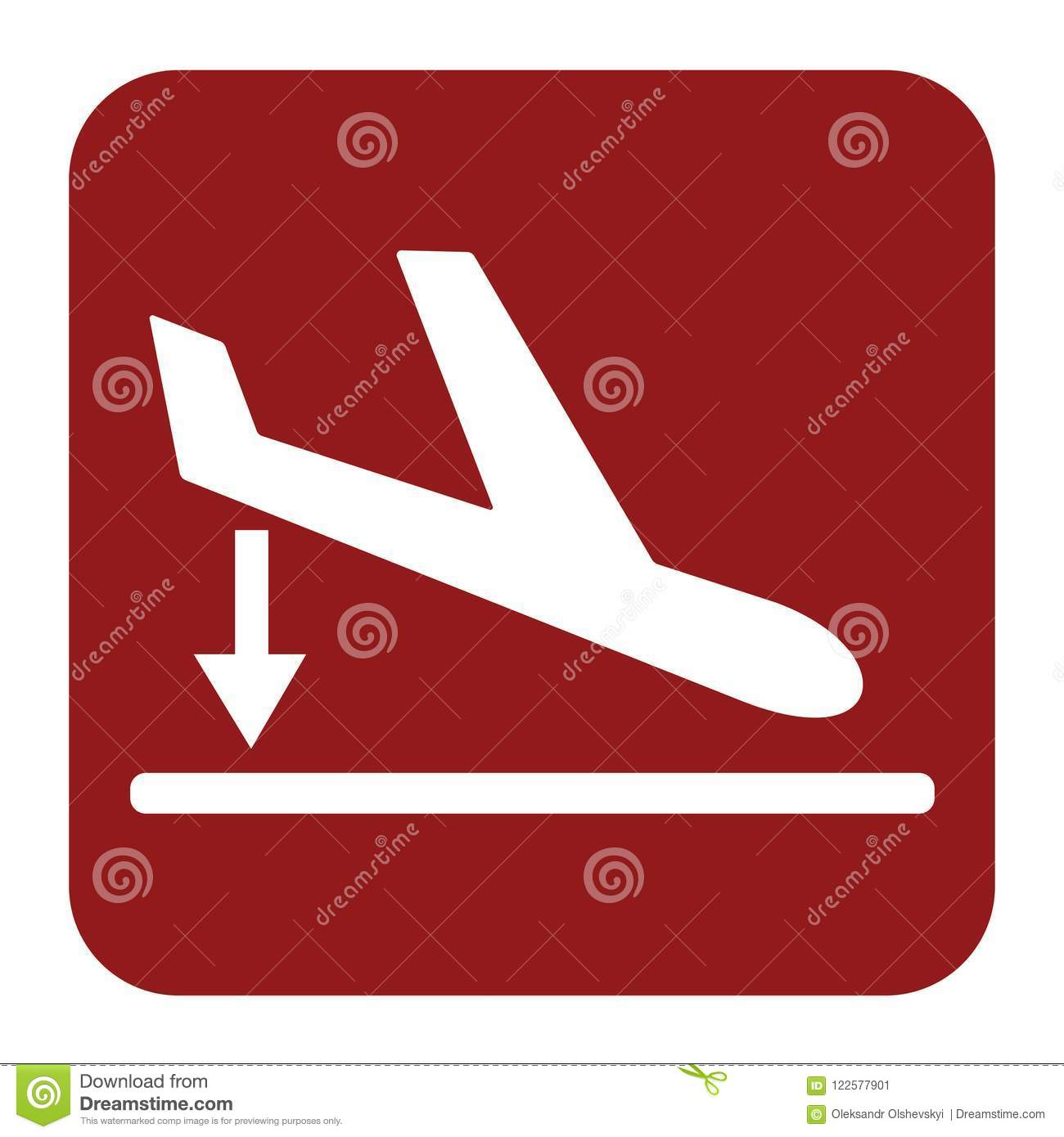 Departure Landing Plane Icon Simple Stock Vector Illustration Of Passenger Airline 122577901