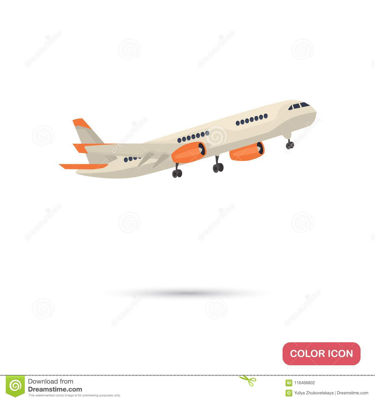 Departure Of The Passenger Plane Color Flat Icon Stock Vector Illustration Of Wing Plane 116468802