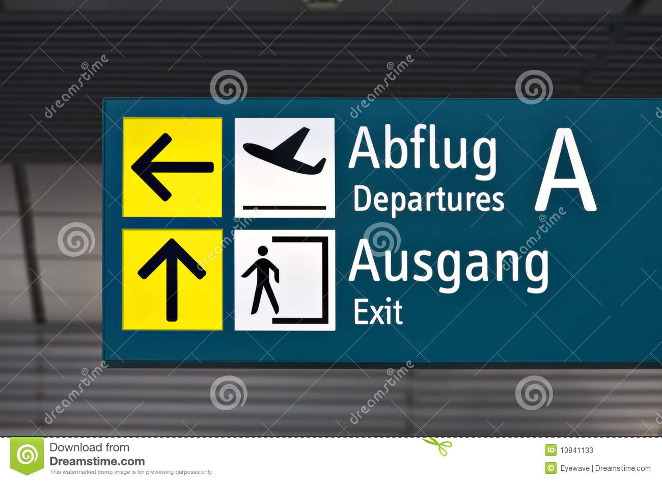 Departure Sign At German Airport Stock Photos - Image: 10841133