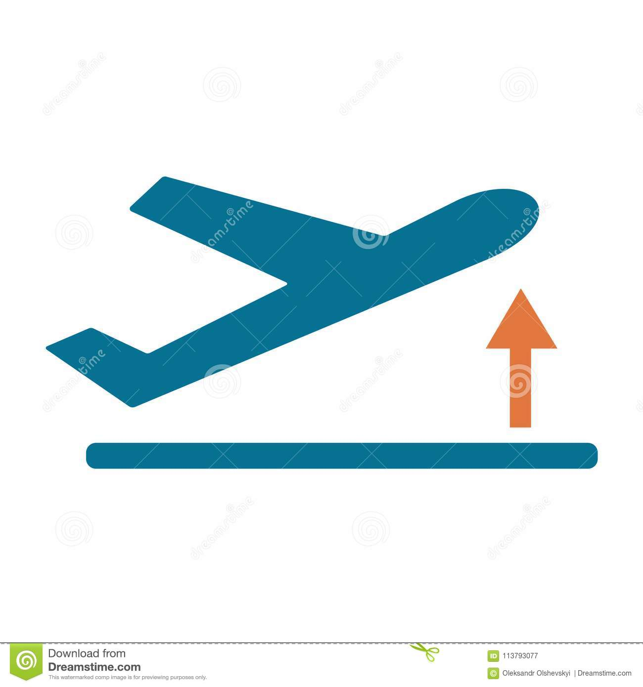 Departure Take Off Plane Icon Simple Stock Vector Illustration Of Passenger Drive 113793077