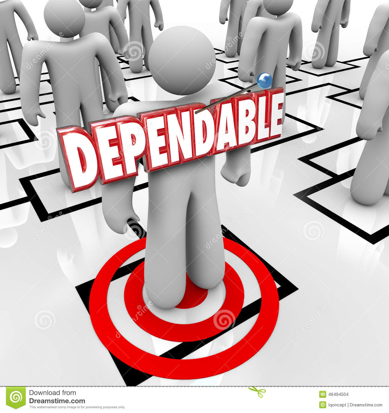 Dependable 3d word on a worker, employee or staff member who is best ...