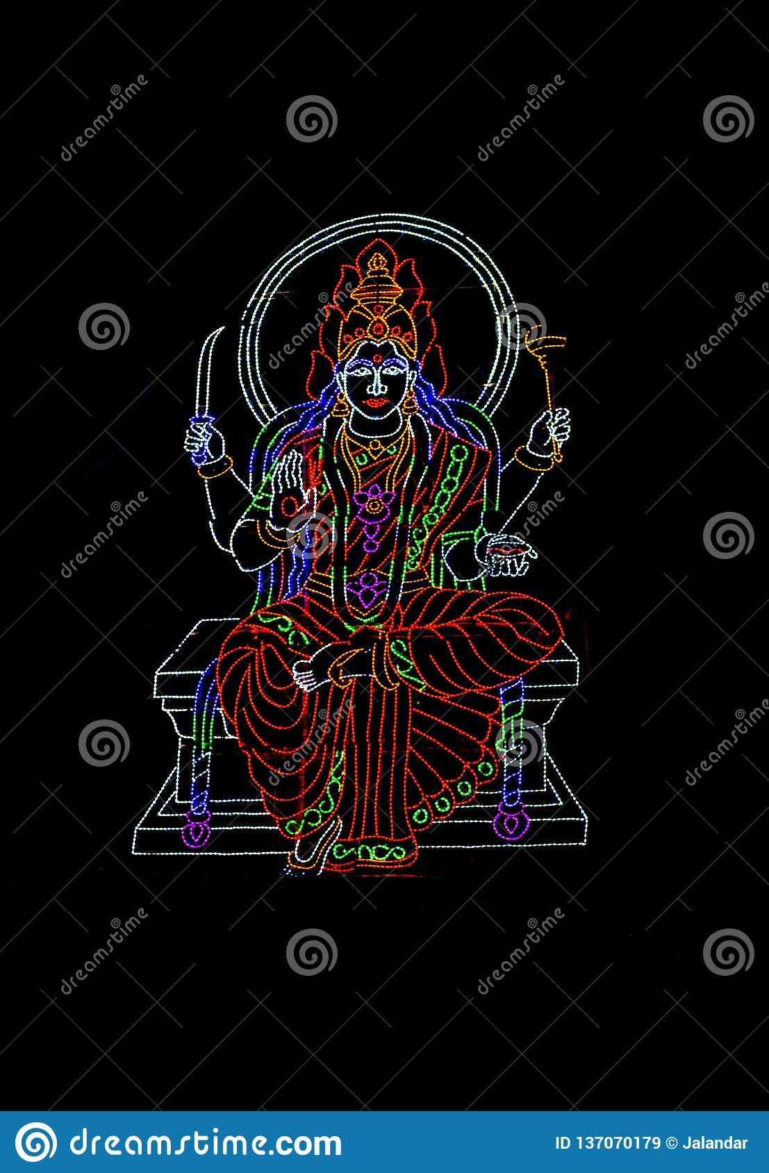 Hindu Goddess displayed in series of colourful LED Lights