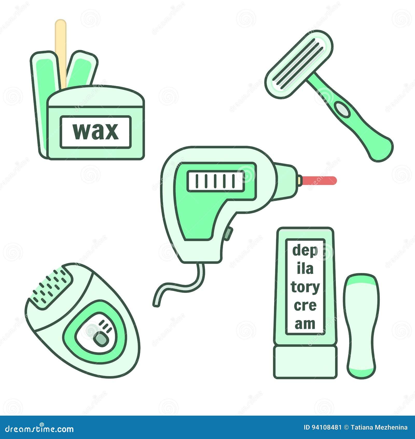 depilation and epilation instruments set stock illustration image 94108481. Black Bedroom Furniture Sets. Home Design Ideas