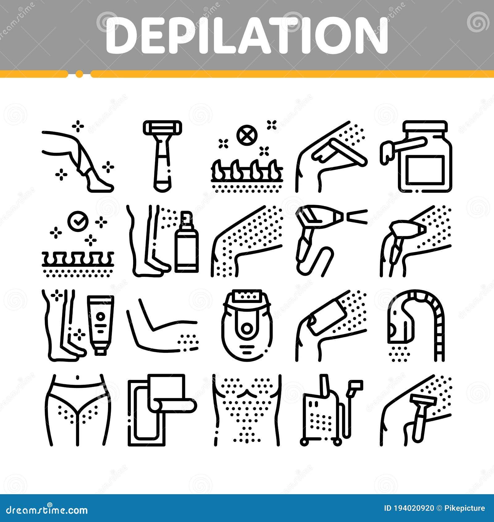Icons Set Of Epilation Tools Cartoon Vector