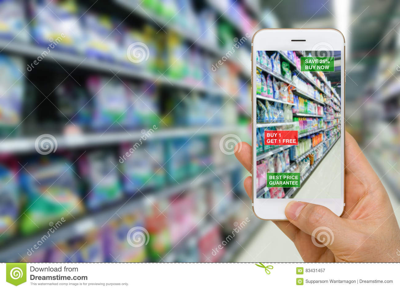 Deployment of Augmented Reality in Retail Business Concept in Supermarket for Discounted or on Sale Products.