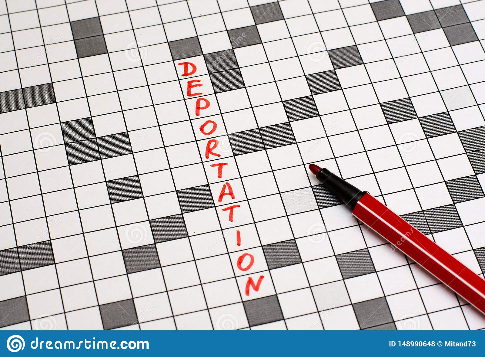 Deportation. Text in crossword. Red letters