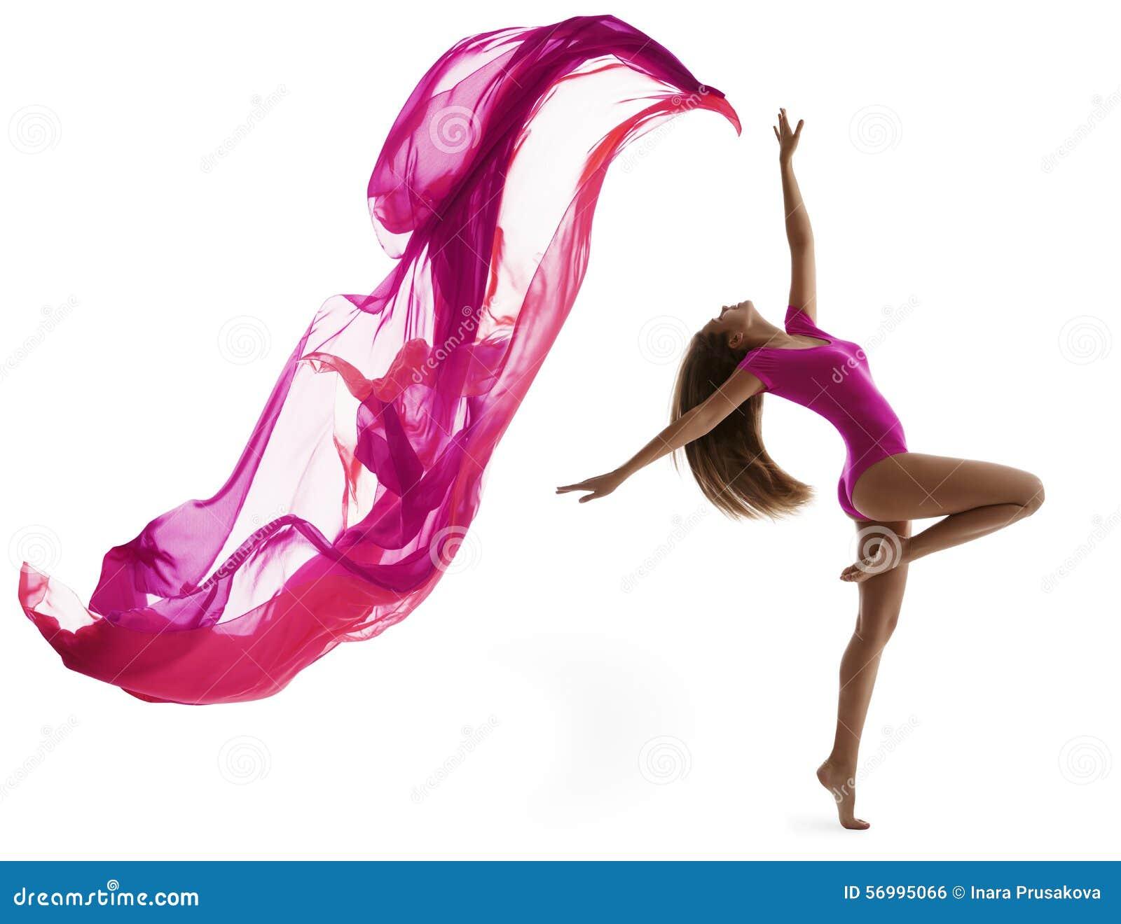 Deporte del baile de la mujer, bailarín atractivo Flying Cloth de la muchacha