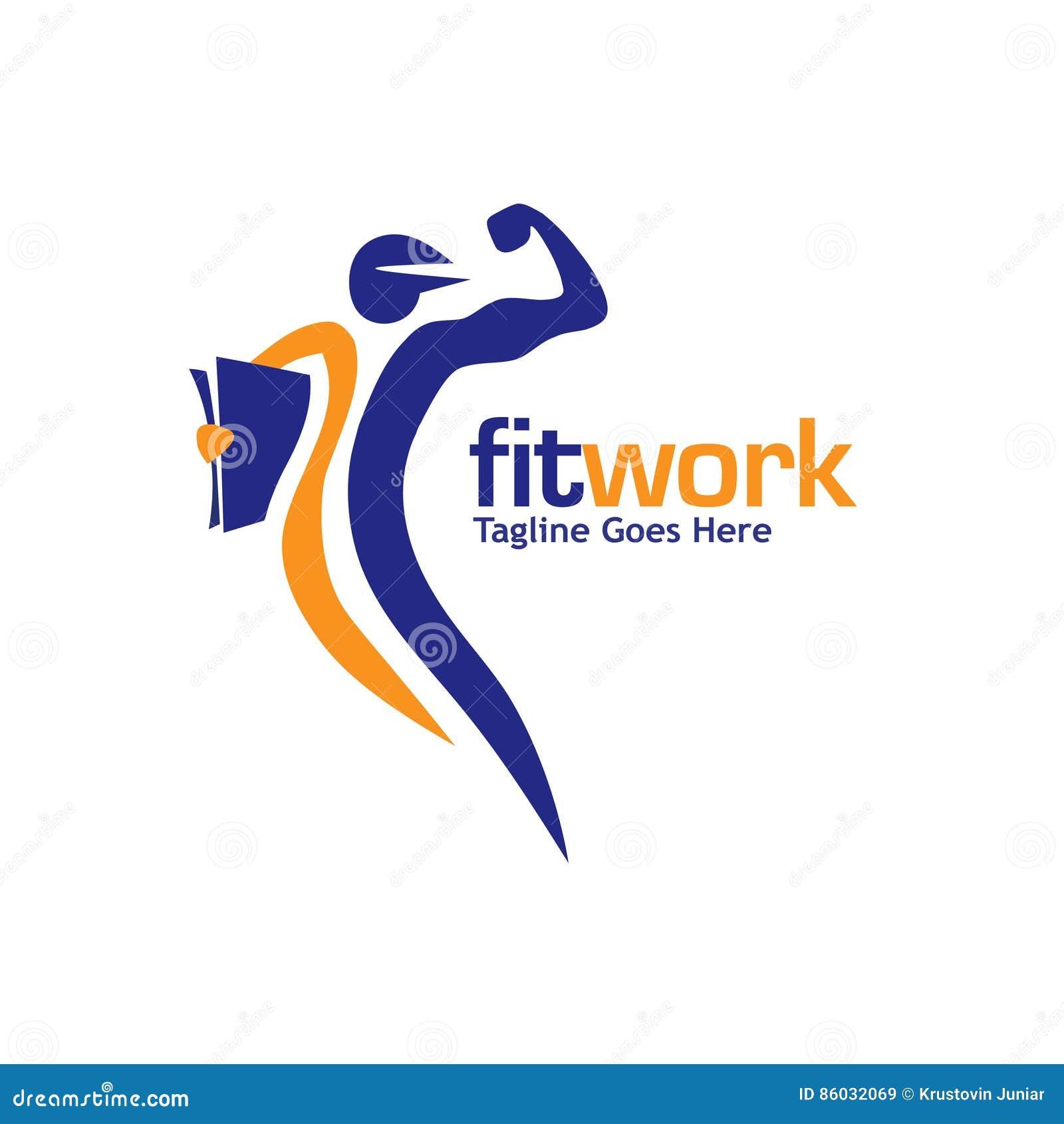 Deporte del trabajo y vector aptos del logotipo de la aptitud