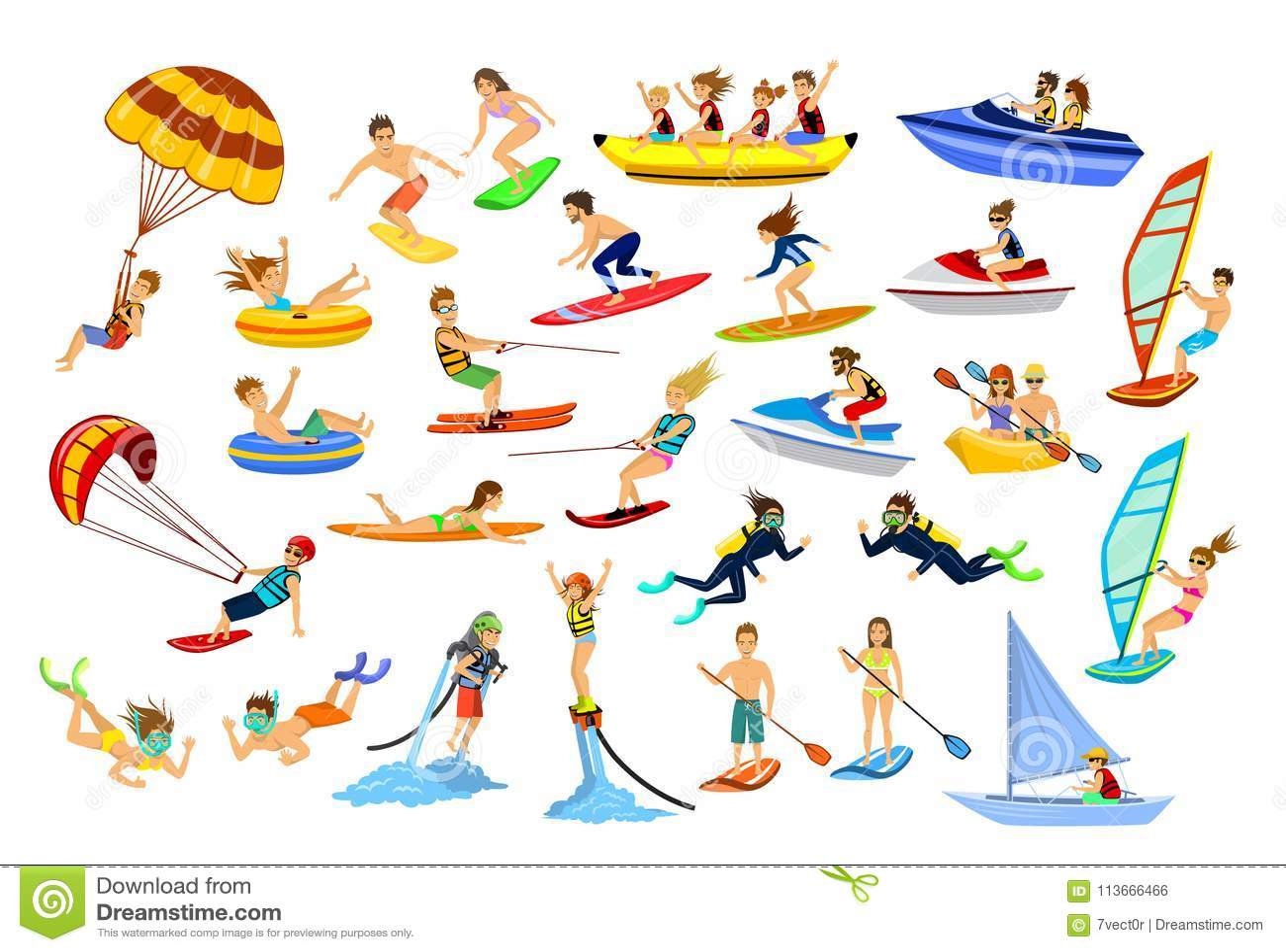 Deportes de la playa del agua del verano, actividades