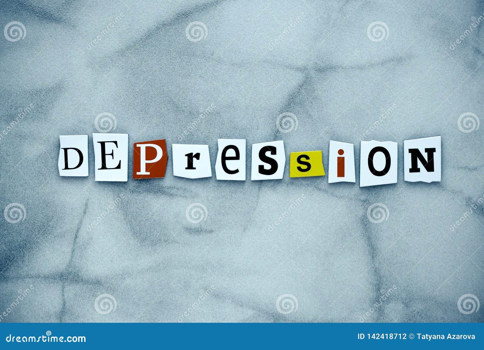 Depressão da palavra de letras cortadas no fundo cinzento Uma depressão da exibição do texto da escrita da palavra Cartão abstrat