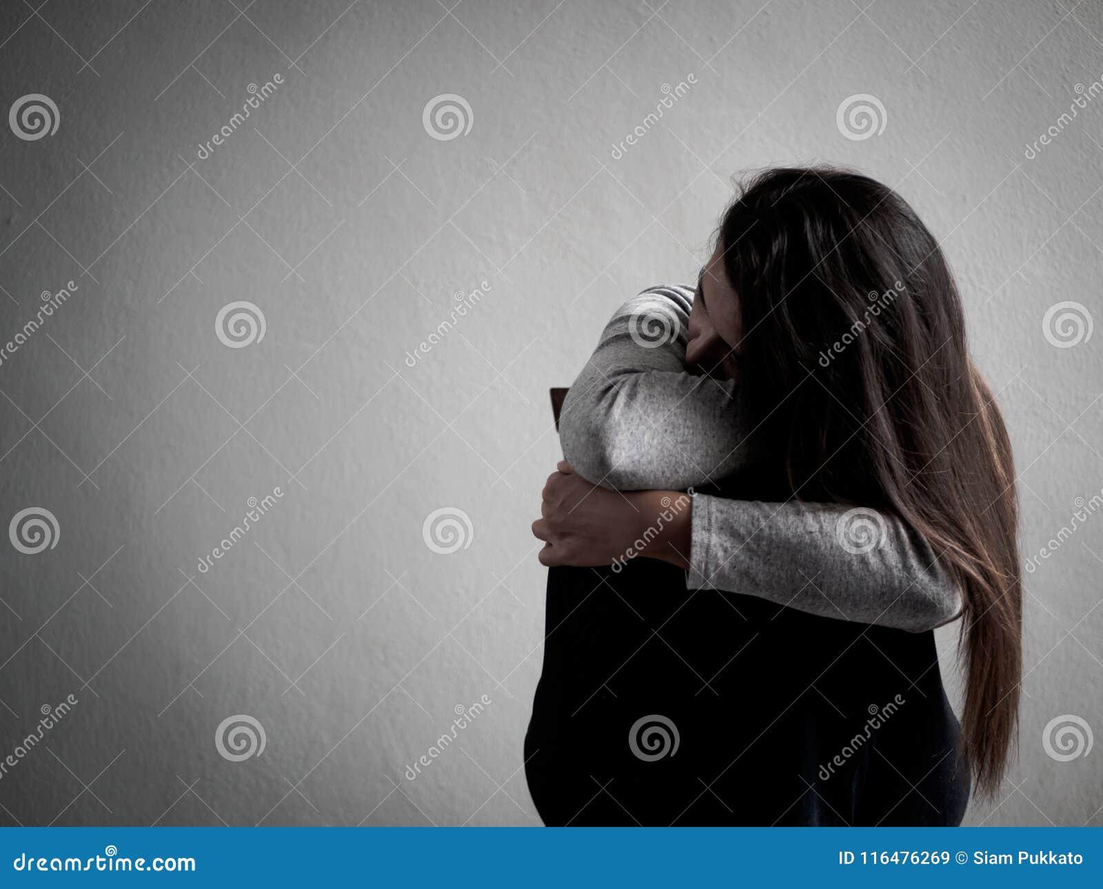 Depressed Broken Hearted Woman Sitting Alone In Dark Room ...