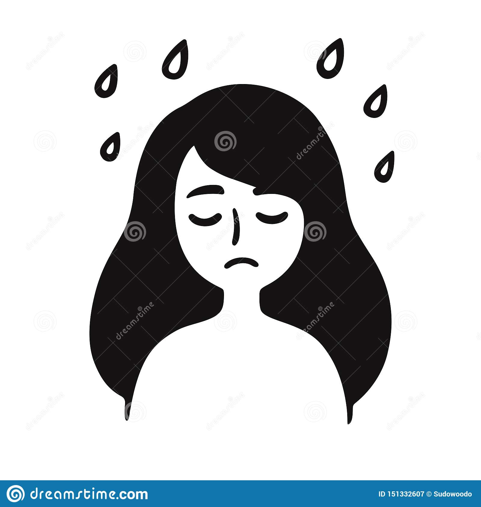 Depressed Girl Drawing Stock Vector. Illustration Of Mood