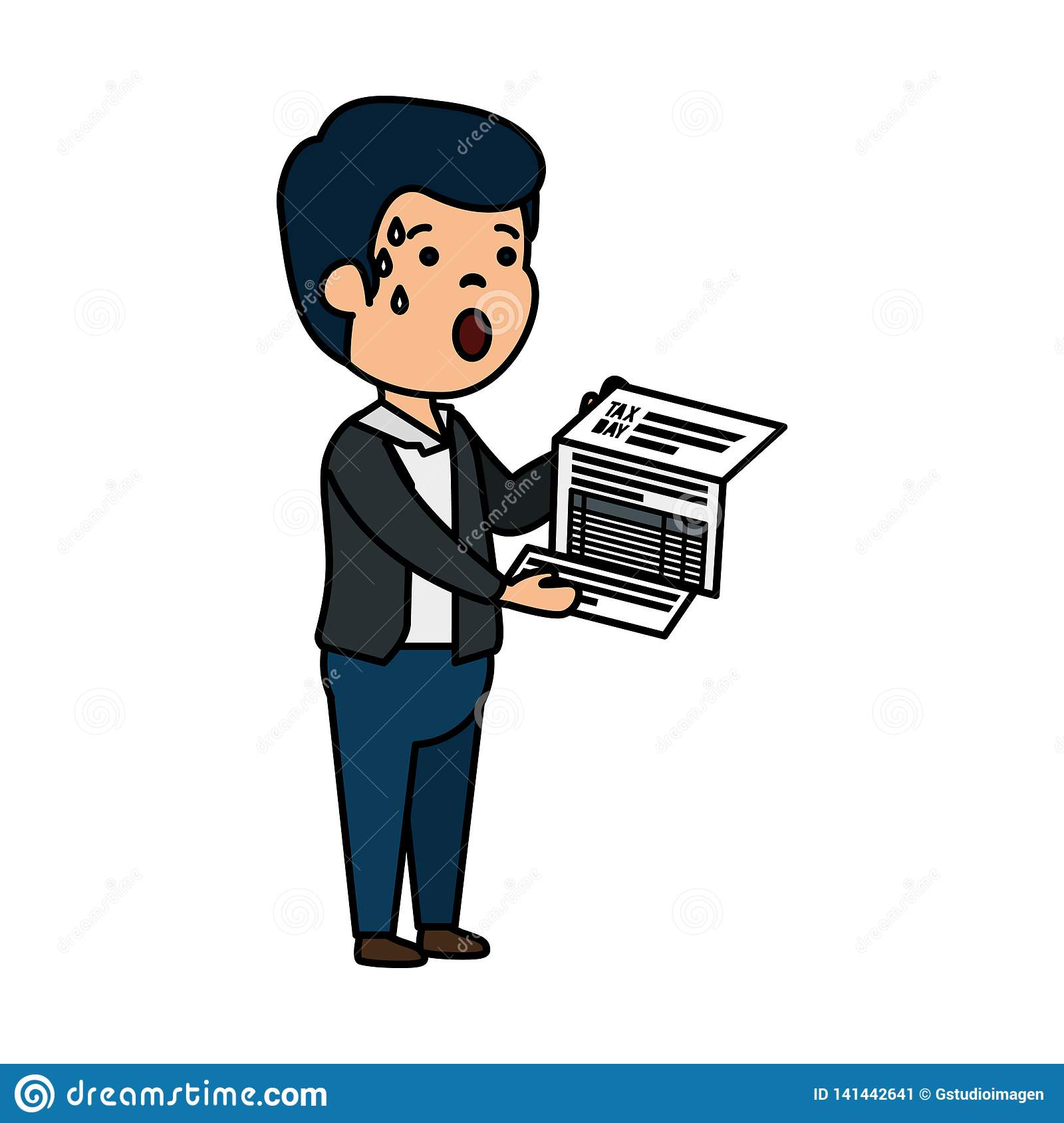 Depressed Man For Money With Tax Document Stock Vector