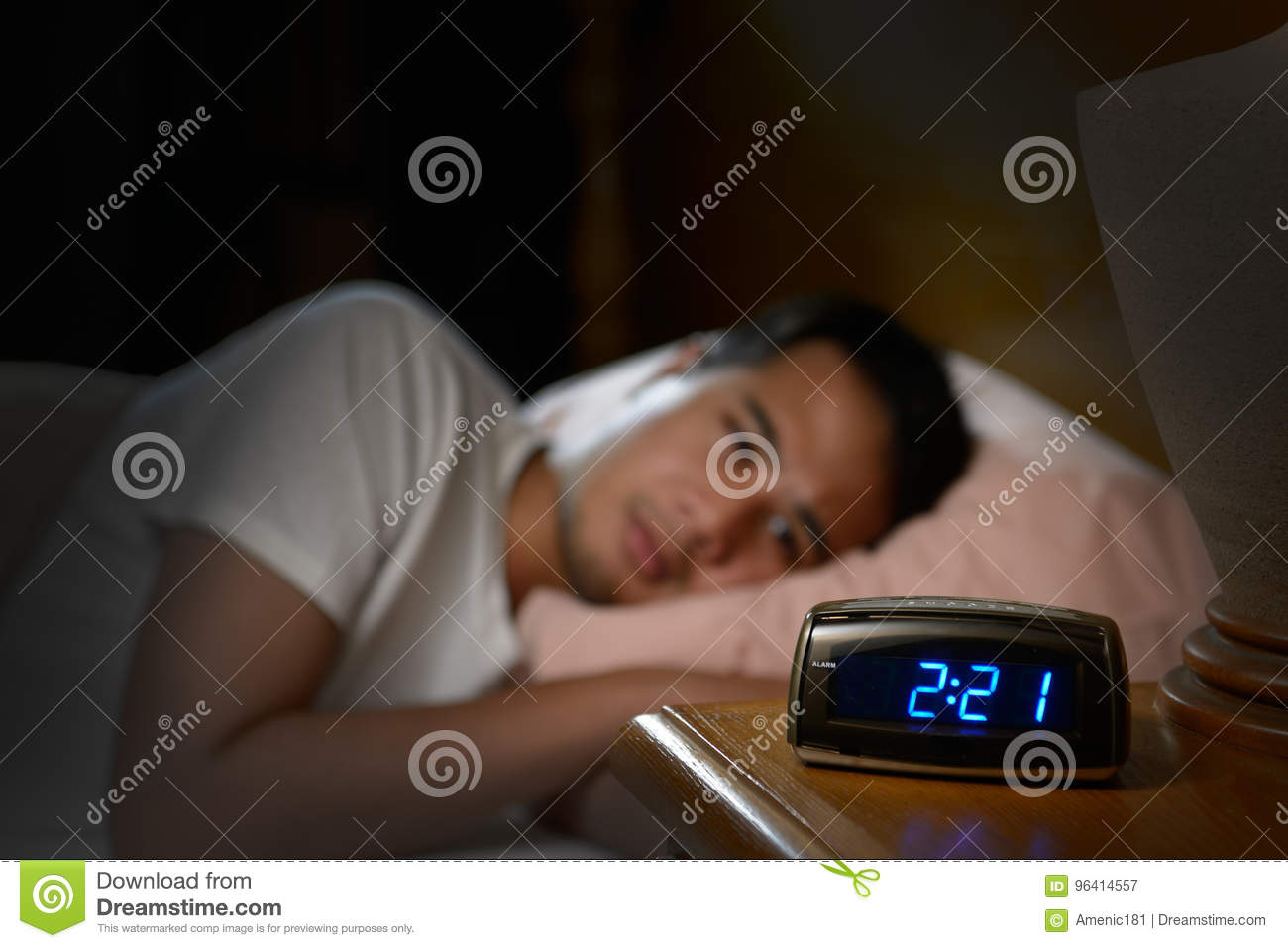 Depressed man suffering from insomnia