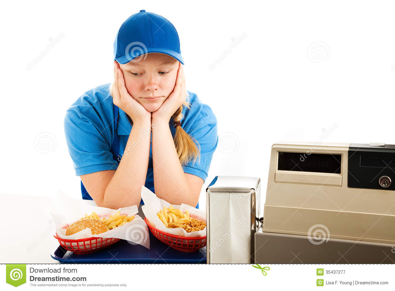 Depressed teen fast food server royalty free stock photography image