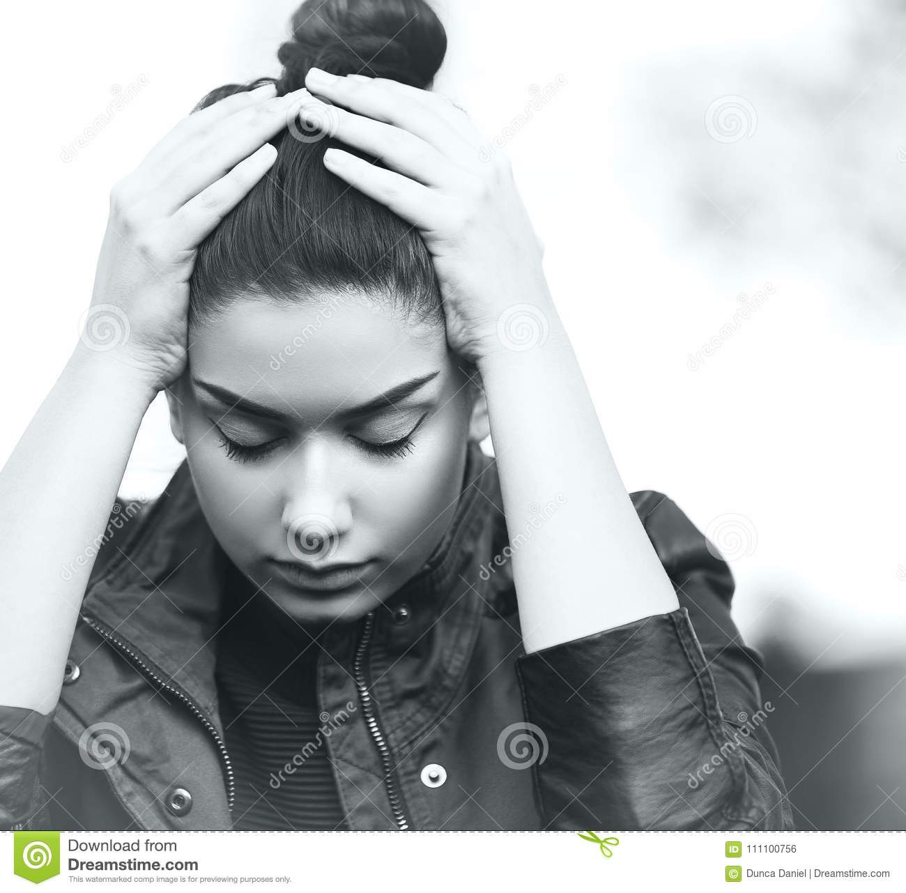 Depressed Teen Girl Showing Sadness And Stress Stock Photo Image Of Problem Depressed 111100756