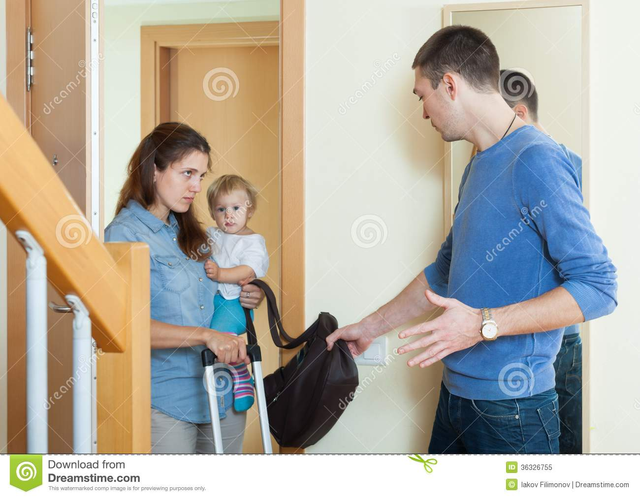Depressed Woman Leaving From Husband Stock Image - Image