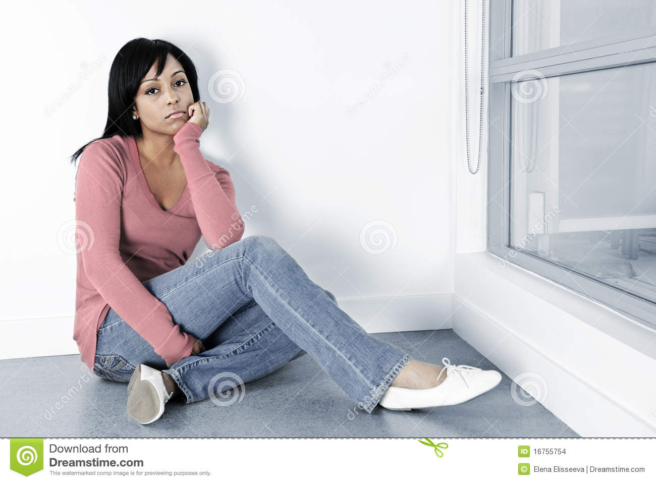 depressed woman sitting on the floor stock images image 16755754. Black Bedroom Furniture Sets. Home Design Ideas