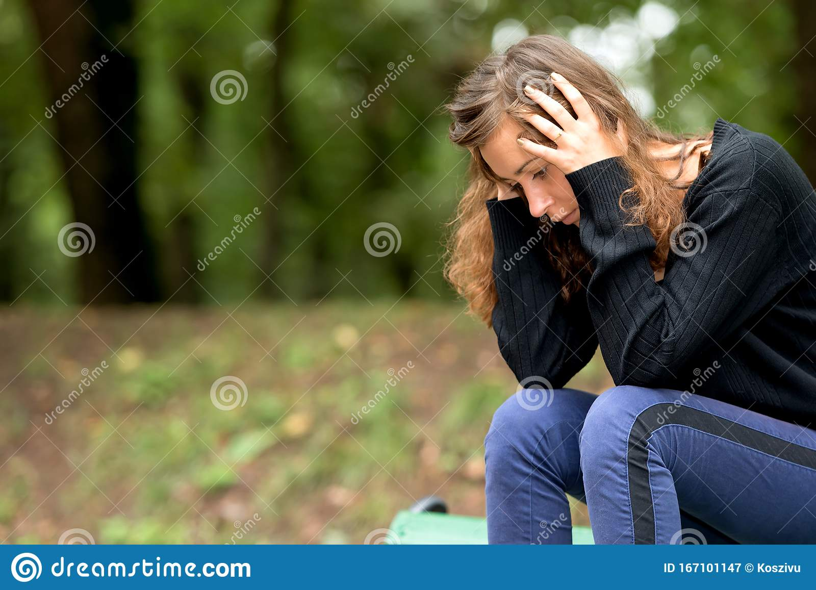 Depressed Woman In Stress Stock Image Image Of Hands 167101147