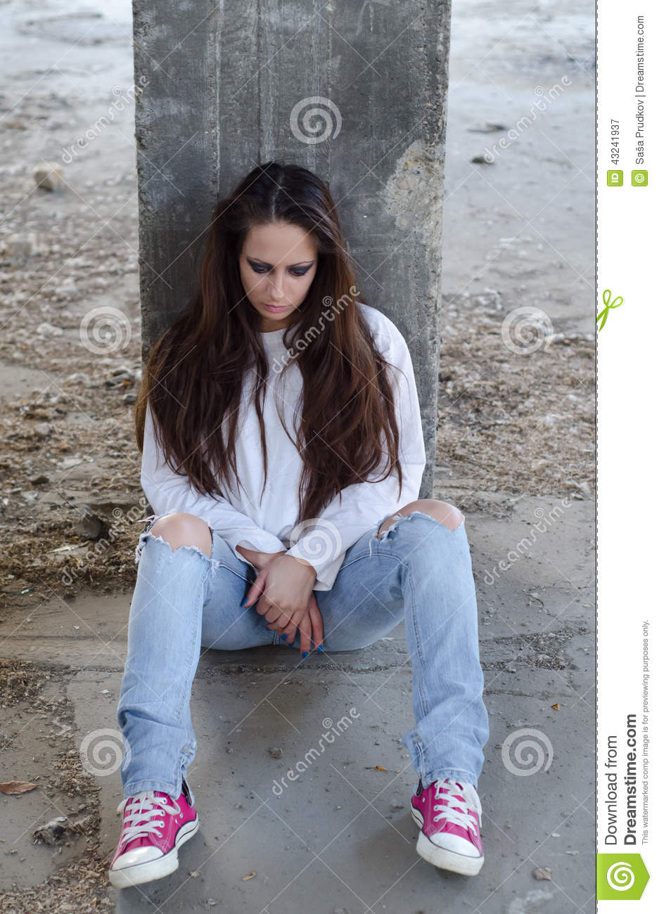 Depressed Young Girl Lost In Thoughts Stock Image Image