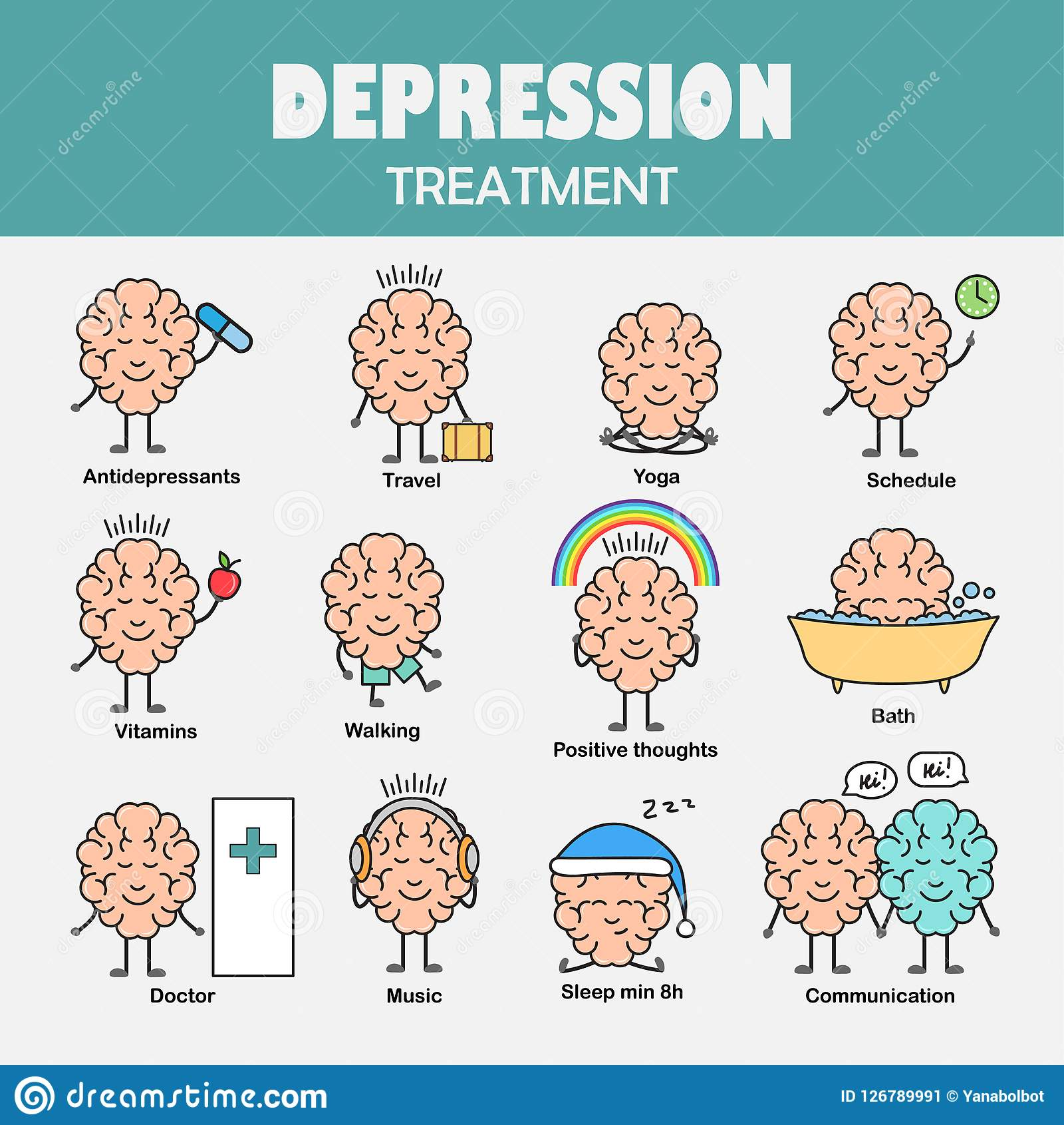 Depression treatment. Cartoon brain character