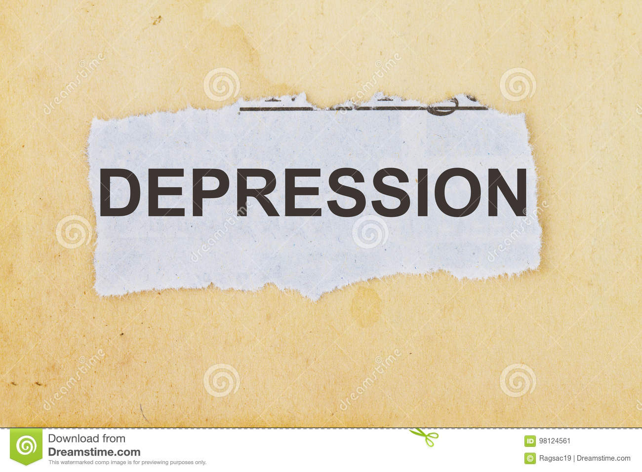 depression word written on a newspaper cut out stock image - image