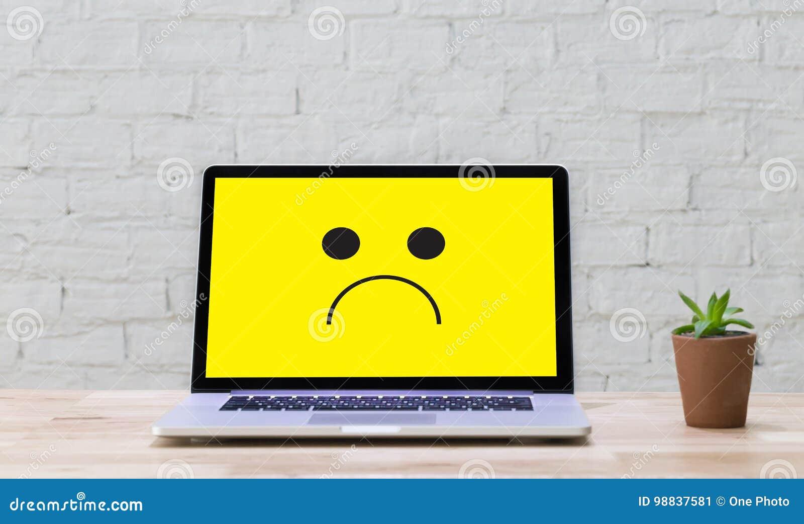 Depressive Emotions Concept Smiley Face Emoticon Printed Depr Stock