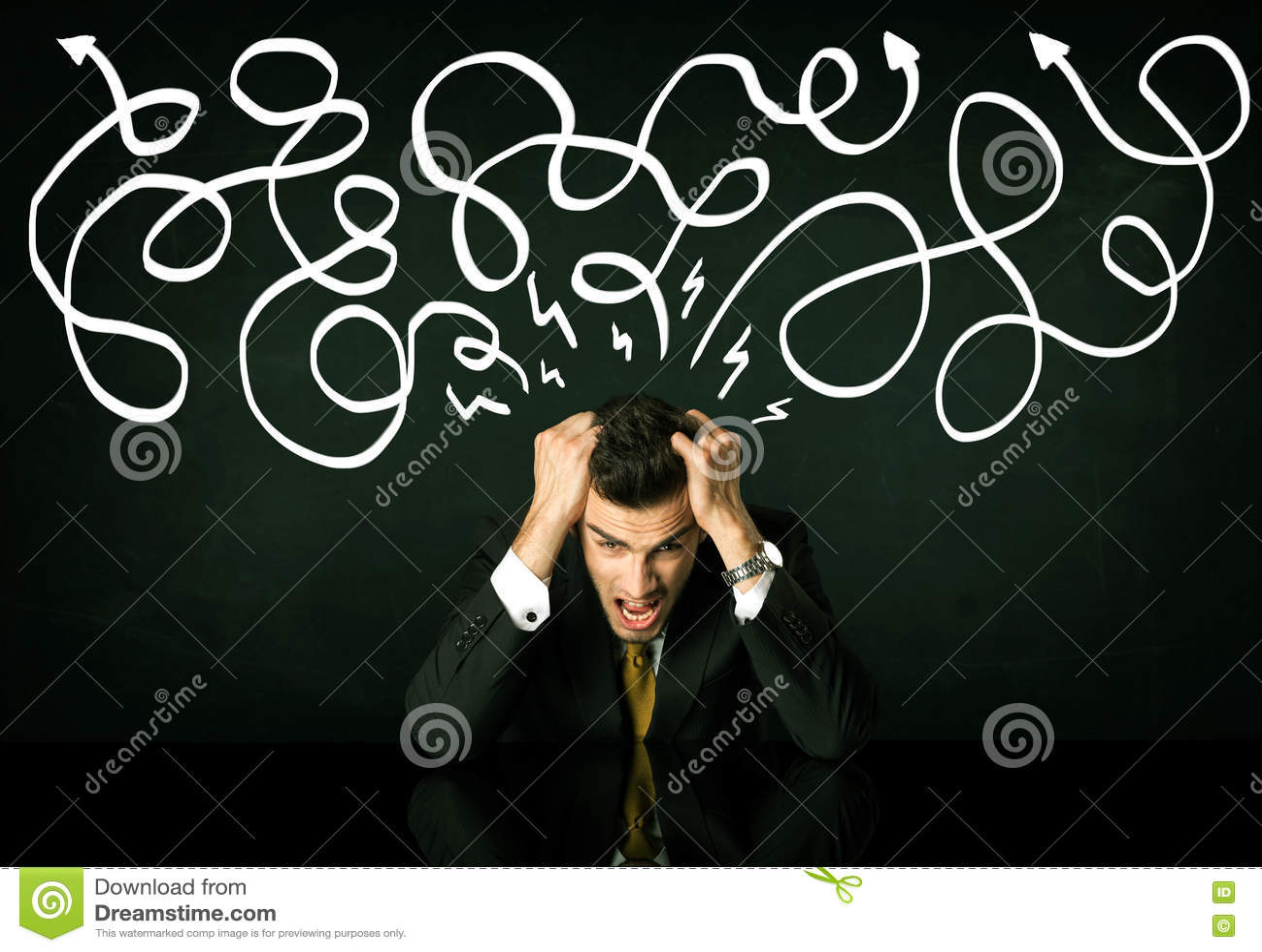 Deprimerat affärsmansammanträde under utdragna riktningslinjer