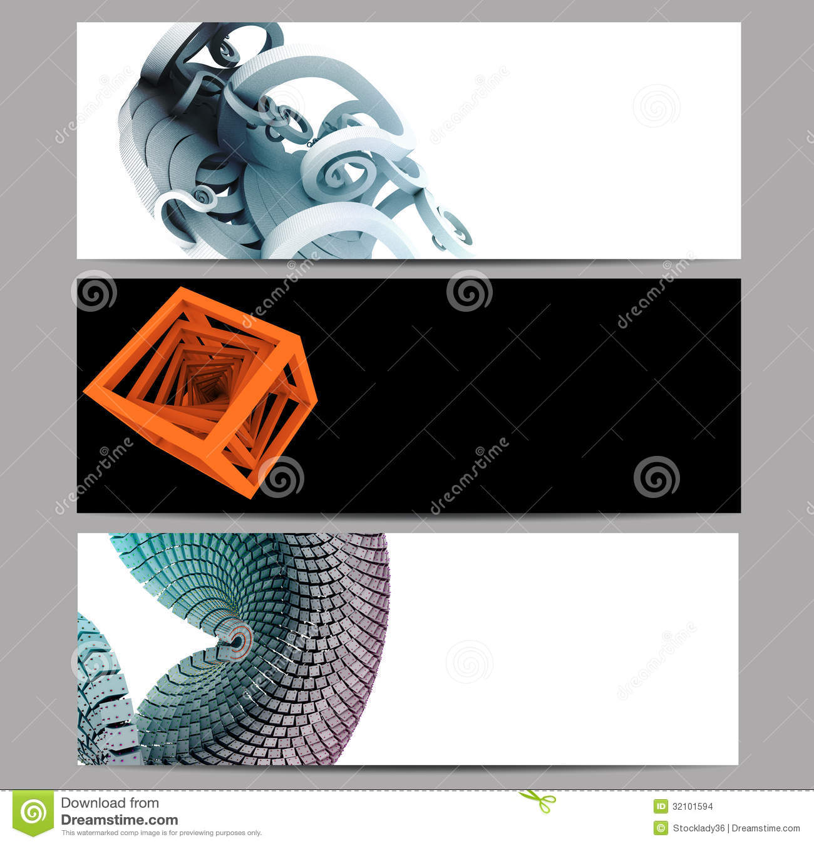 Der abstrakte Fahnensatz, der mit 3D verschönert wird, überträgt