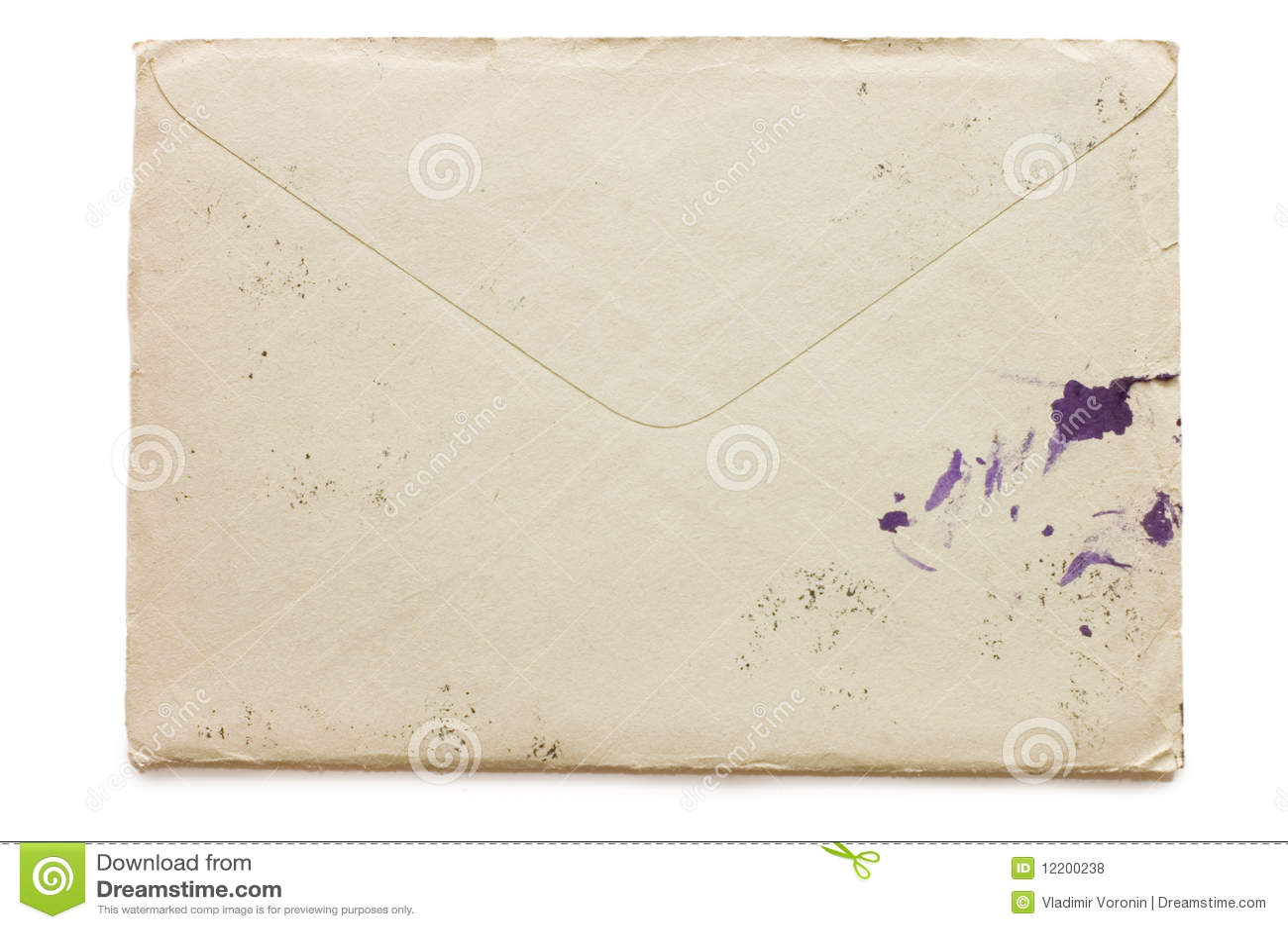 Der alte Umschlag beschmutzt durch Tinte