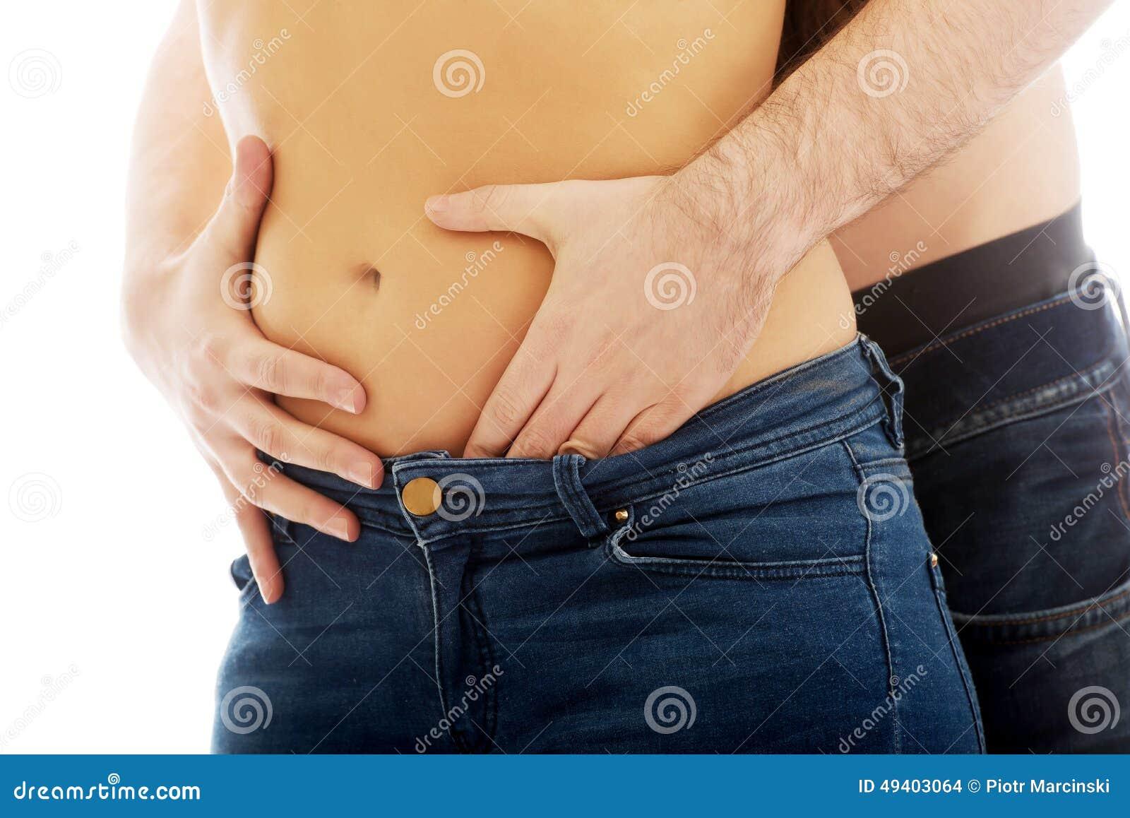 Download Der Bauch Mann Rührender Silm Frau Stockfoto - Bild von nahaufnahme, ausschnitt: 49403064