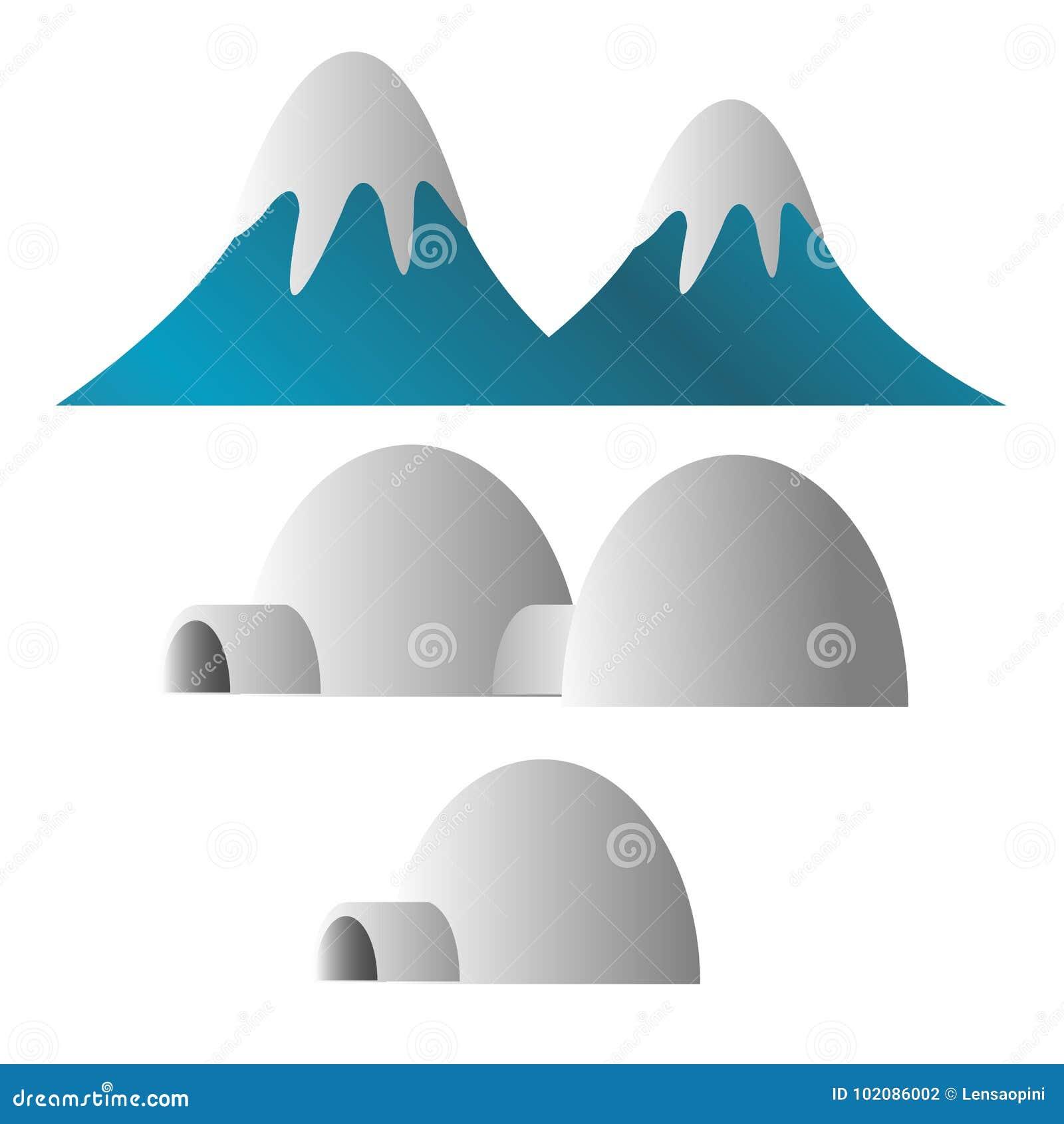 Der Berg, der mit Schnee bedeckt werden und der Eskimo gefrieren Hausillustration