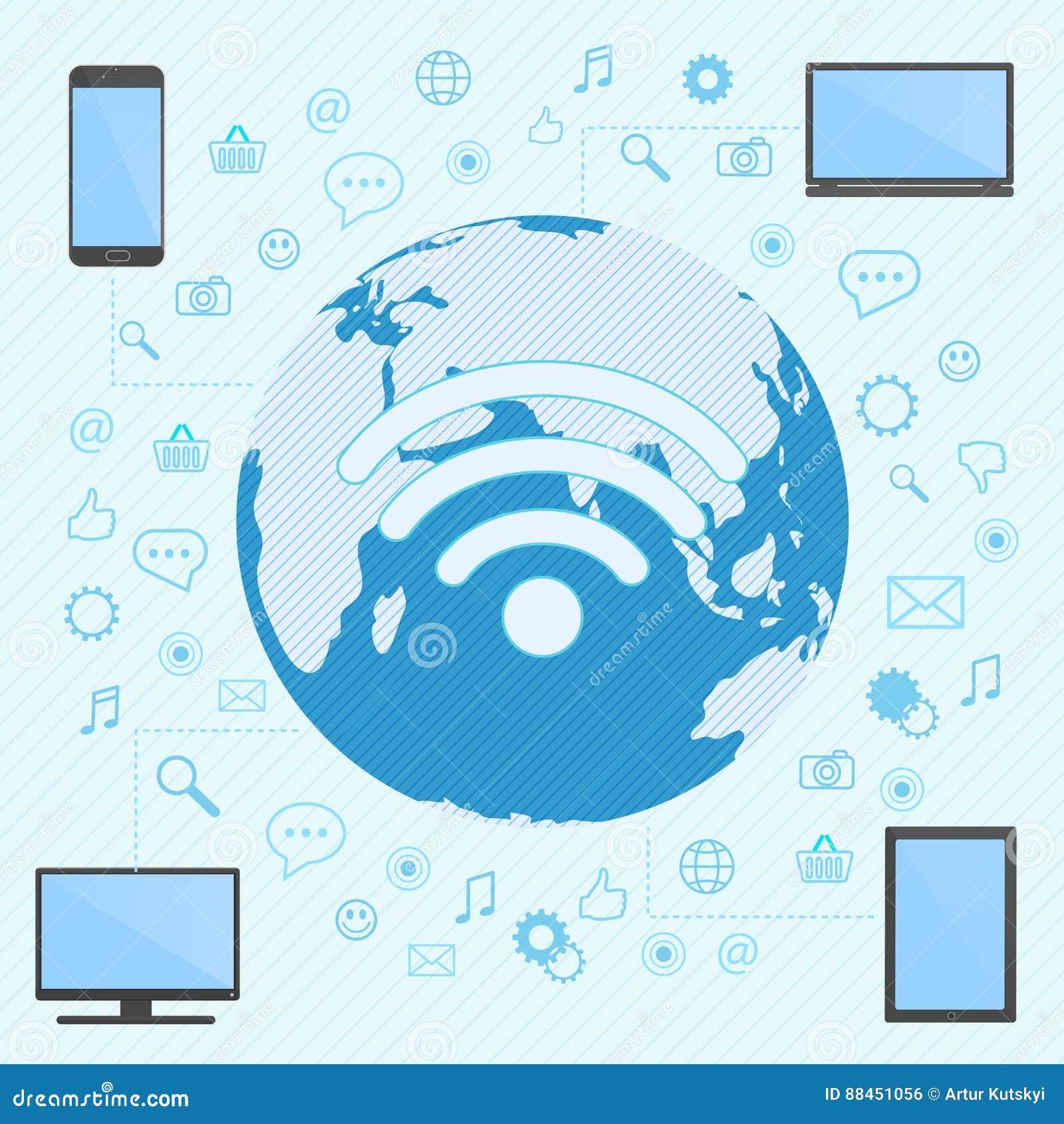 Der Computer, der Smartphone, der Laptop und die Tablette schlossen in wifi Netz an die Weltkarte auf dem Hintergrund an
