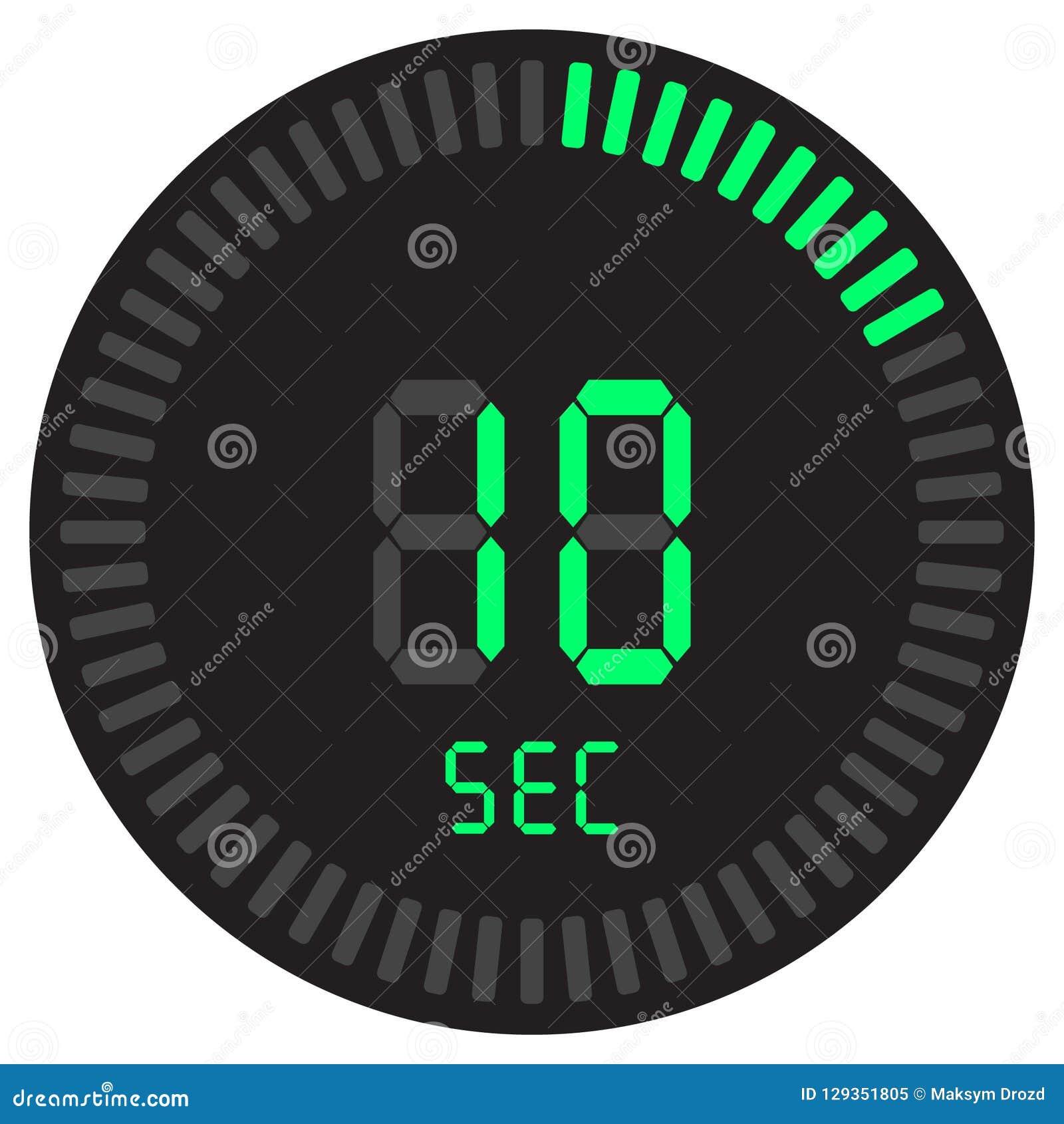 Der digitale Timer 10 Sekunden elektronische Stoppuhr mit einer Steigungsskala, die Vektorikone, Uhr und Armbanduhr, Timer, Count