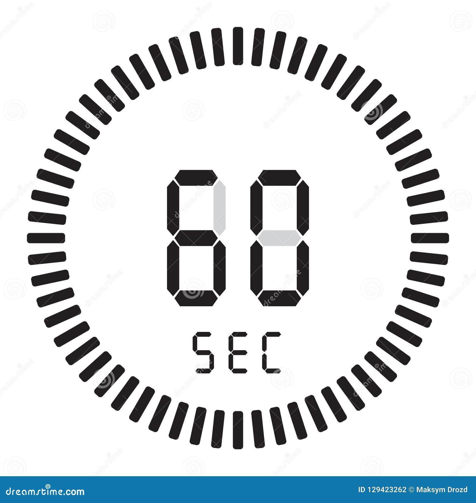 Der digitale Timer 60 Sekunden, 1 Minute elektronische Stoppuhr mit einer Steigungsskala, die Vektorikone, Uhr und Armbanduhr, Ti
