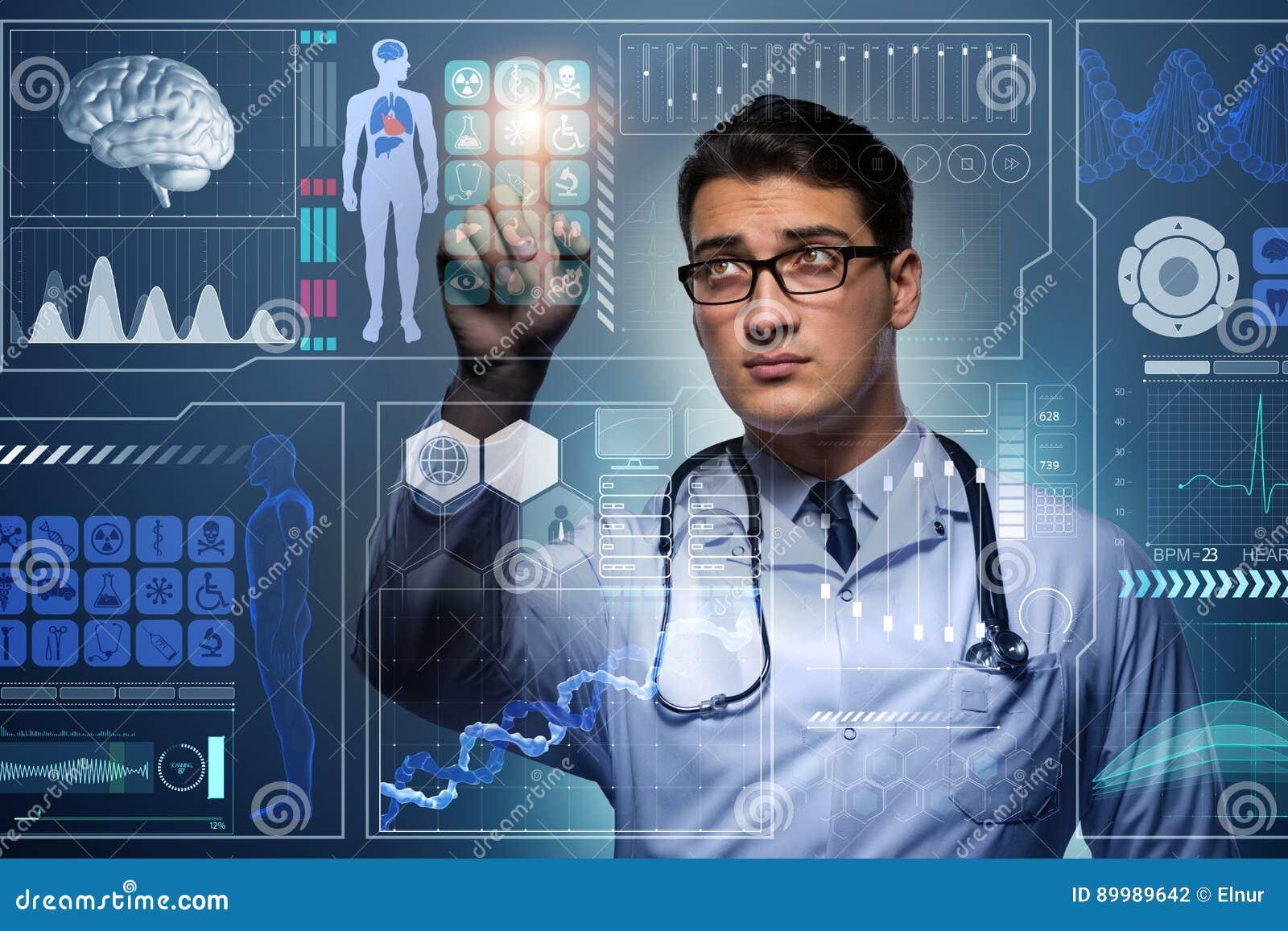 Der Doktor im futuristischen medizinischen Konzept, das Knopf drückt
