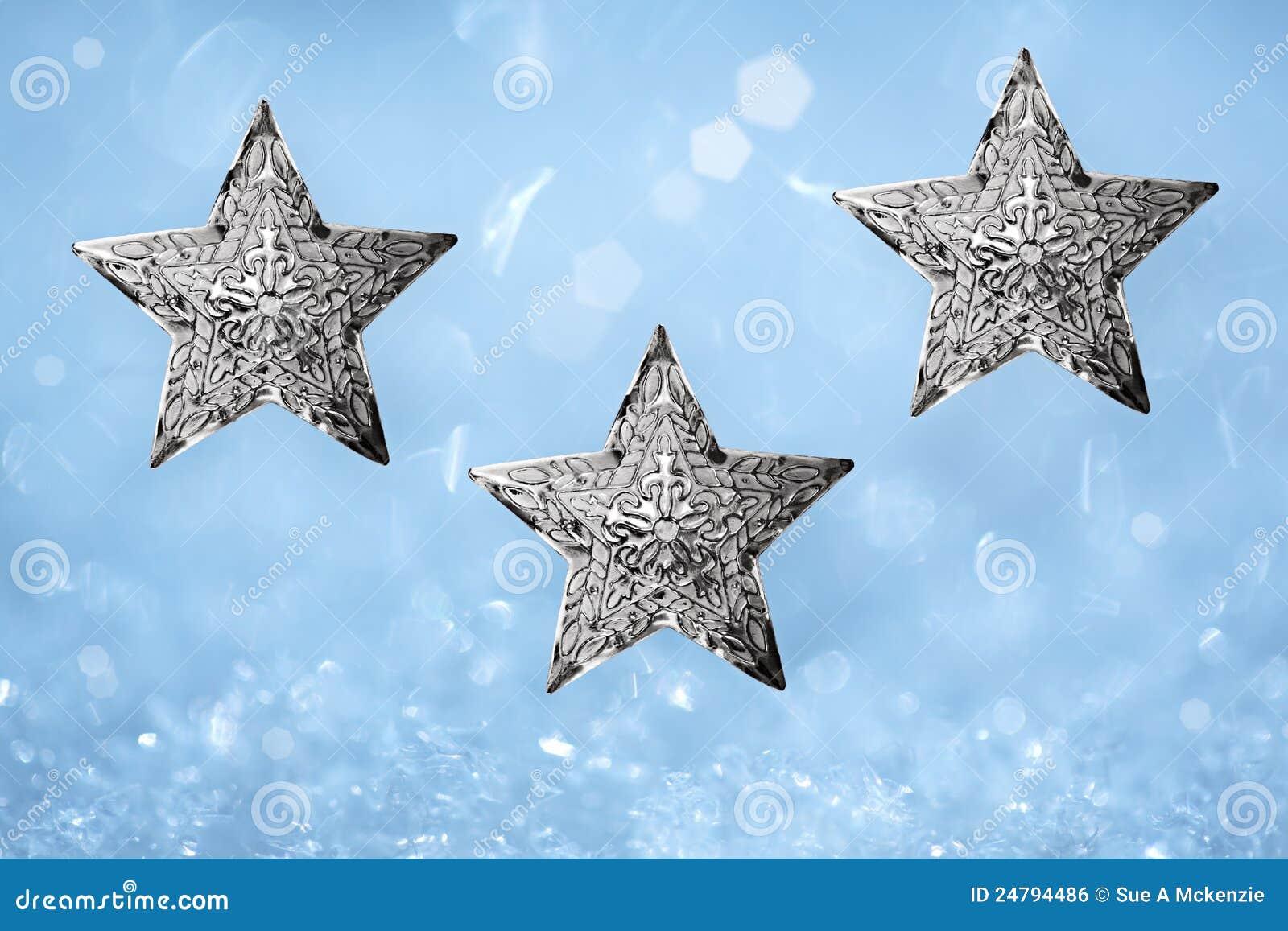 der drei metallverziert silbernes stern weihnachten blau. Black Bedroom Furniture Sets. Home Design Ideas