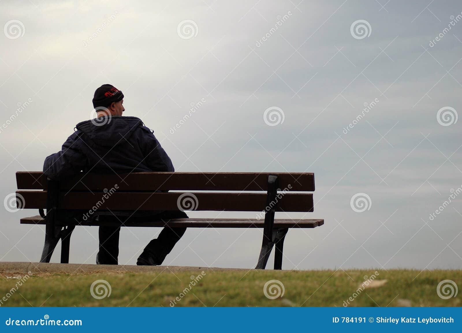 Der Einsame Mann Stockbild Bild Von Bank D 252 Ster