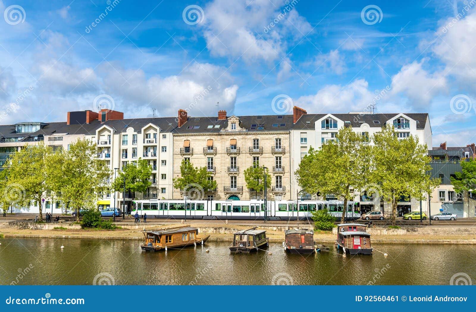 Der Erdre-Fluss in Nantes, Frankreich