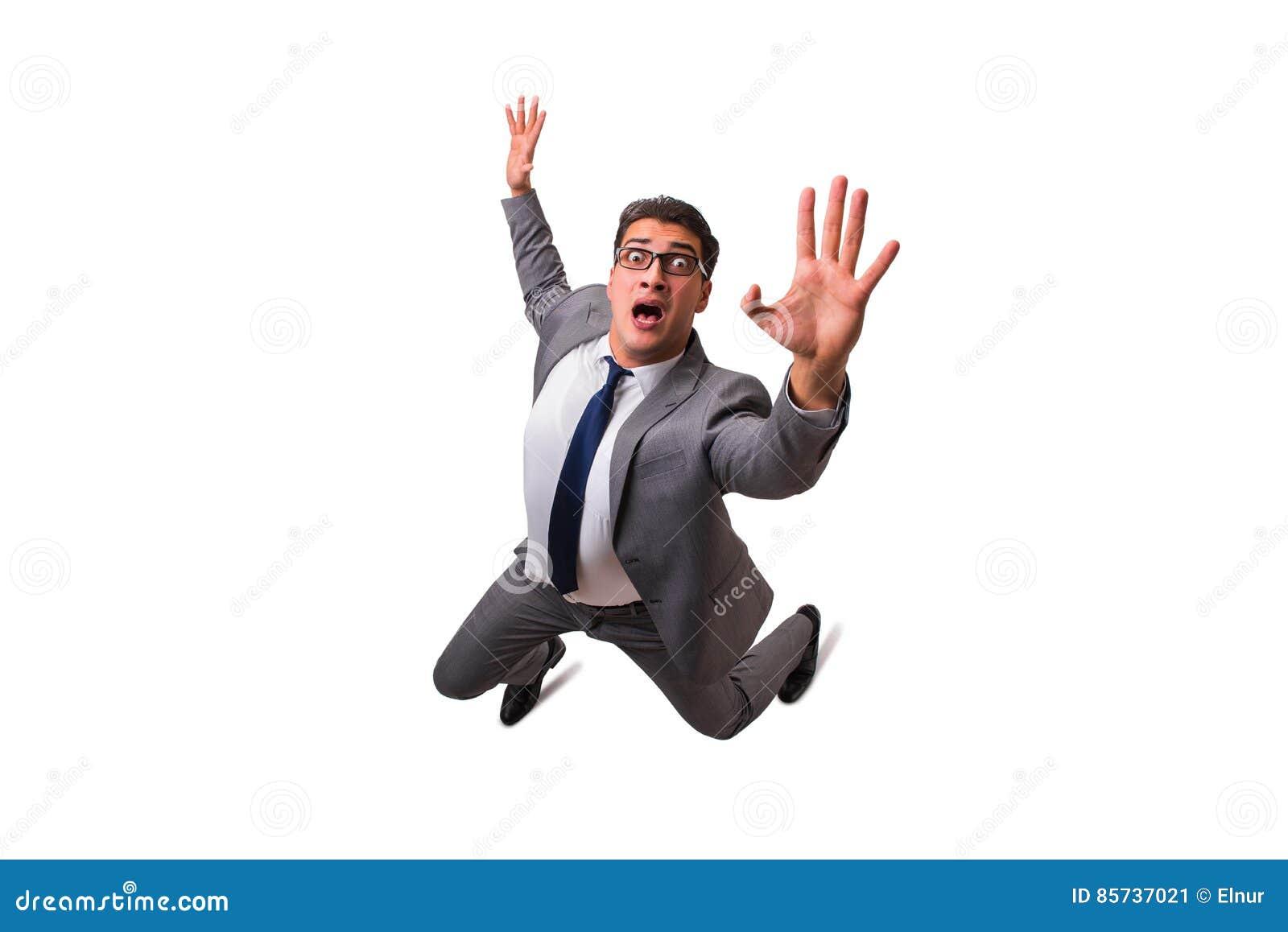 Der fallende Geschäftsmann lokalisiert auf dem weißen Hintergrund