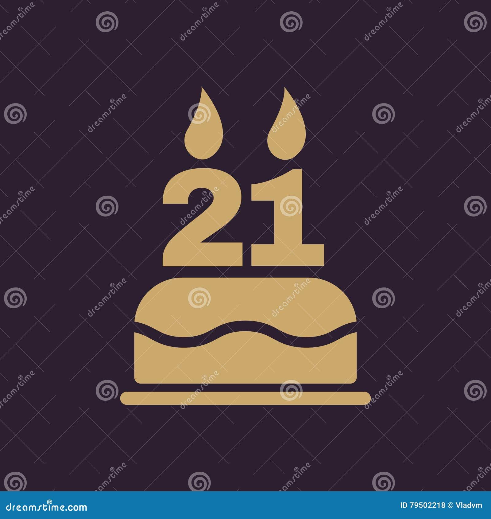 Der Geburtstagskuchen Mit Kerzen In Form Von Ikone Der Nr 21