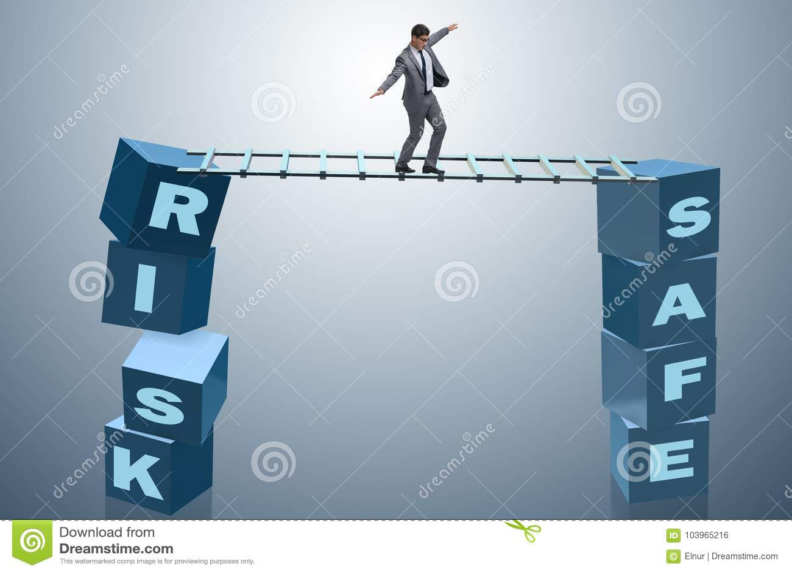 Der Geschäftsmann im Risiko- und Belohnungsgeschäftskonzept