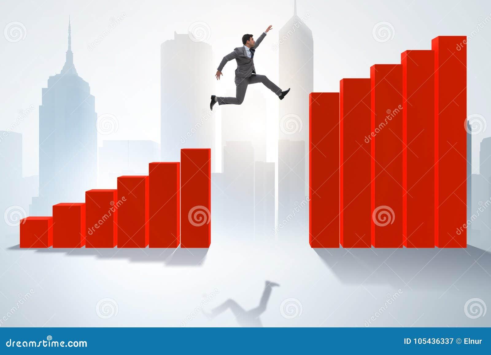Der Geschäftsmann, der in Richtung zum wirtschaftlichen Erfolg läuft