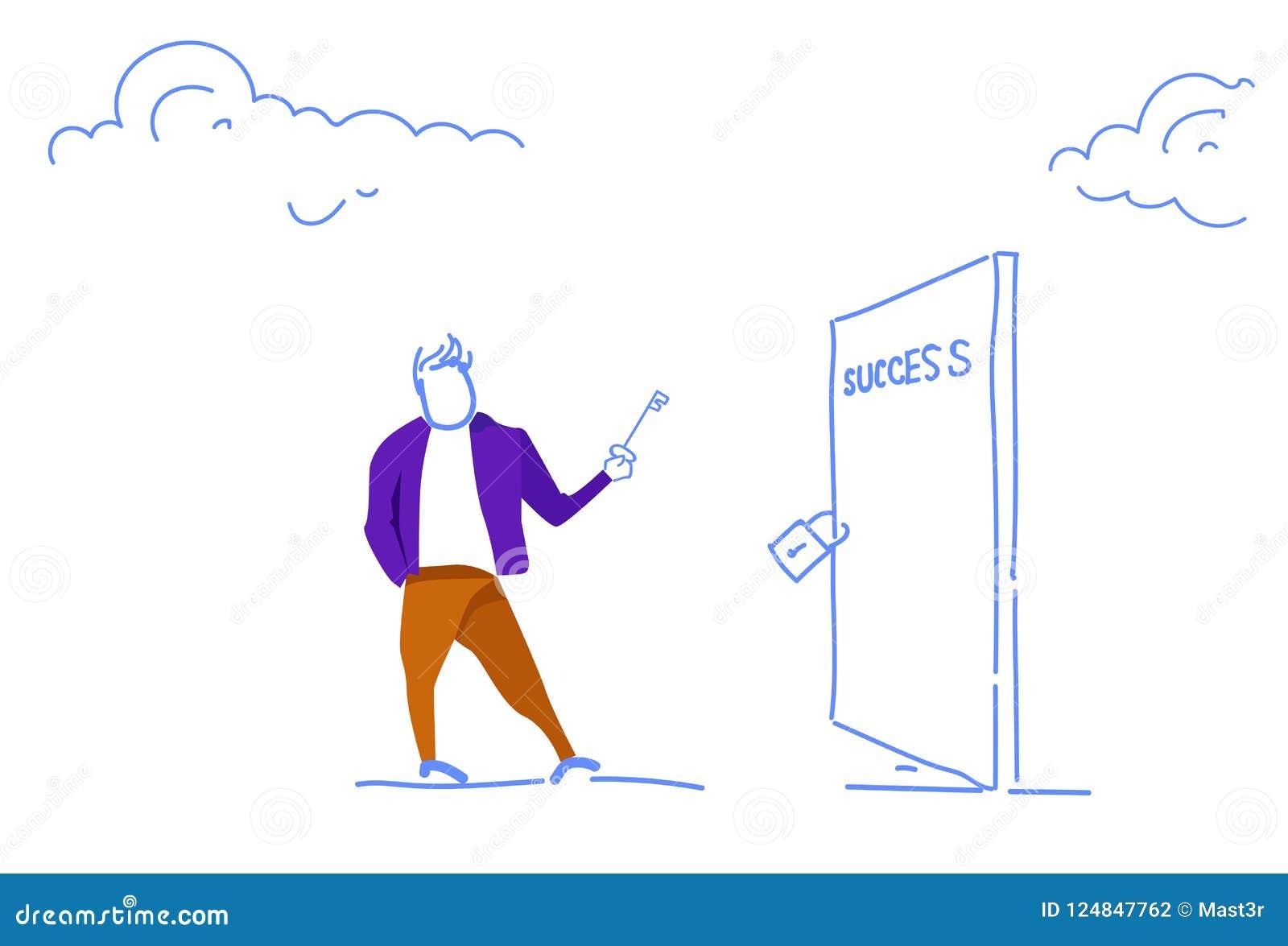 Der Geschäftsmann, der Schlüssel hält, setzen Vorhängeschloß geschlossene horizontale Skizze der offenen neuen Gelegenheiten des