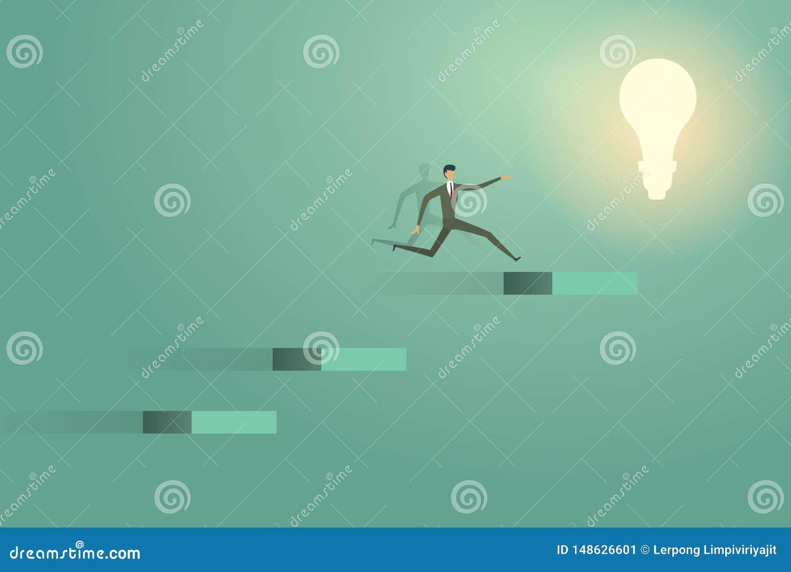 Der Geschäftsmann springend, auf Konzeptlösungs-Ehrgeiz succes der Glühlampe zu gehen kreative