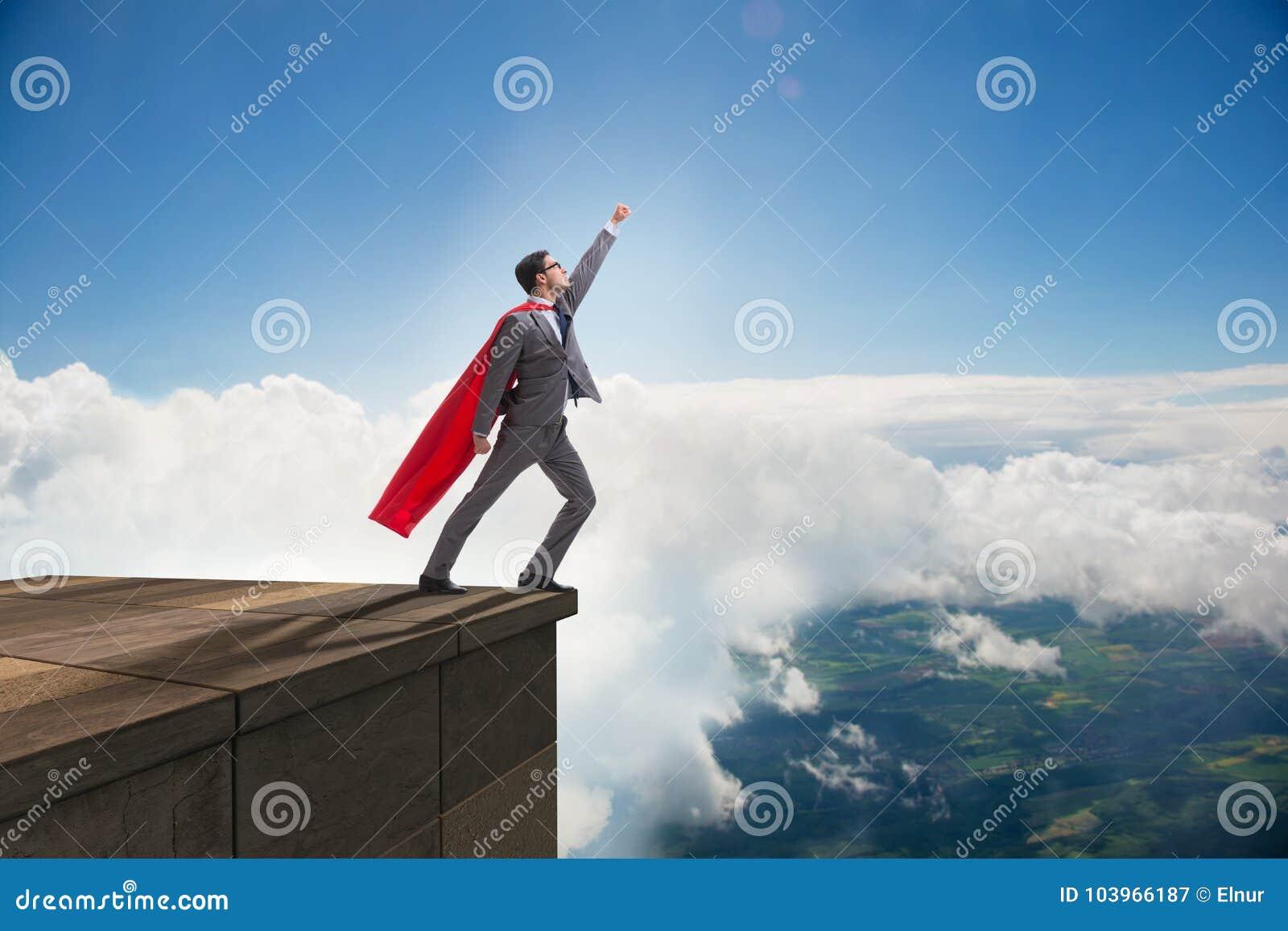 Der Geschäftsmannsuperheld erfolgreich im Karriereleiterkonzept